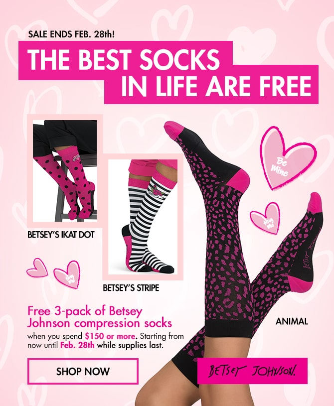 Free 3 Pack of Betsey Johnson compressions socks